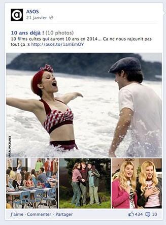 Publication Asos sur les 10 films cultes qui datent d'une dizaine d'années